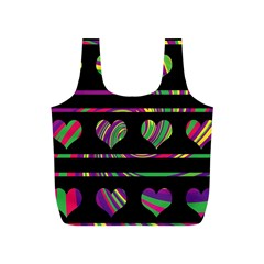 Colorful harts pattern Full Print Recycle Bags (S)