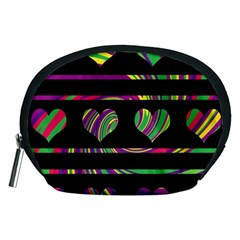 Colorful harts pattern Accessory Pouches (Medium)