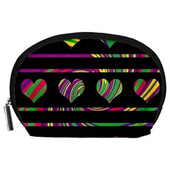 Colorful harts pattern Accessory Pouches (Large)