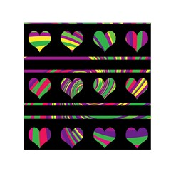 Colorful harts pattern Small Satin Scarf (Square)