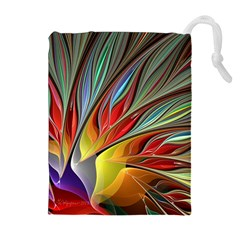 Fractal Bird of Paradise Drawstring Pouch (XL)