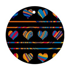 Colorful harts pattern Ornament (Round)
