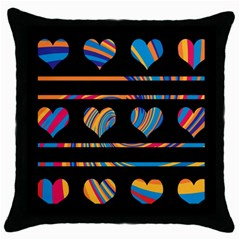 Colorful harts pattern Throw Pillow Case (Black)