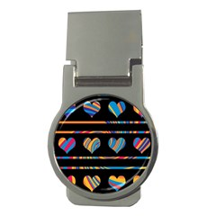 Colorful harts pattern Money Clips (Round)