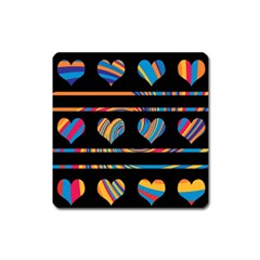 Colorful harts pattern Square Magnet