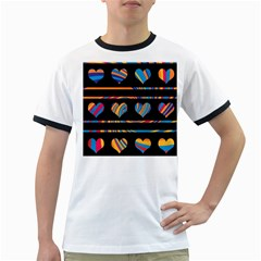 Colorful harts pattern Ringer T-Shirts