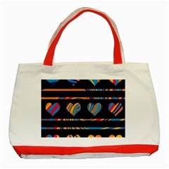 Colorful harts pattern Classic Tote Bag (Red)