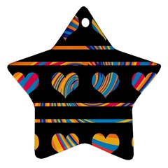 Colorful harts pattern Star Ornament (Two Sides)