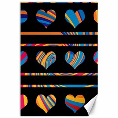 Colorful harts pattern Canvas 12  x 18