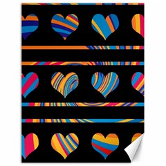 Colorful harts pattern Canvas 18  x 24