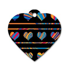 Colorful harts pattern Dog Tag Heart (Two Sides)