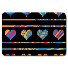Colorful harts pattern Large Doormat