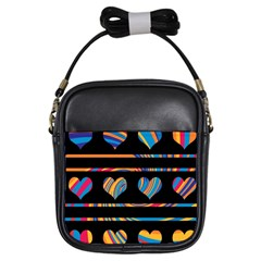 Colorful harts pattern Girls Sling Bags