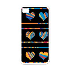Colorful harts pattern Apple iPhone 4 Case (White)