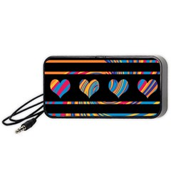 Colorful harts pattern Portable Speaker (Black)