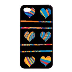 Colorful harts pattern Apple iPhone 4/4s Seamless Case (Black)