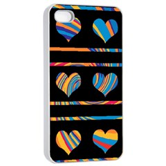 Colorful harts pattern Apple iPhone 4/4s Seamless Case (White)
