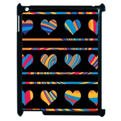 Colorful harts pattern Apple iPad 2 Case (Black)