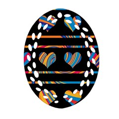 Colorful harts pattern Ornament (Oval Filigree)