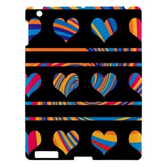 Colorful harts pattern Apple iPad 3/4 Hardshell Case