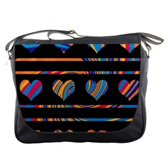 Colorful harts pattern Messenger Bags