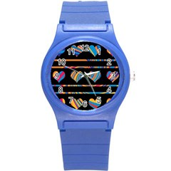 Colorful harts pattern Round Plastic Sport Watch (S)