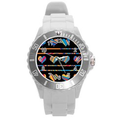 Colorful harts pattern Round Plastic Sport Watch (L)