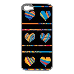 Colorful harts pattern Apple iPhone 5 Case (Silver)