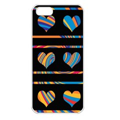 Colorful harts pattern Apple iPhone 5 Seamless Case (White)
