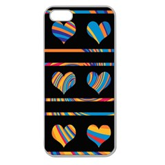 Colorful harts pattern Apple Seamless iPhone 5 Case (Clear)