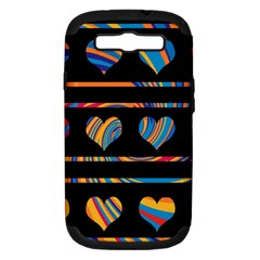 Colorful harts pattern Samsung Galaxy S III Hardshell Case (PC+Silicone)