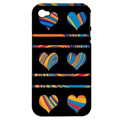Colorful harts pattern Apple iPhone 4/4S Hardshell Case (PC+Silicone)