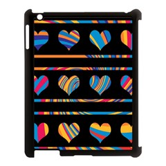 Colorful harts pattern Apple iPad 3/4 Case (Black)