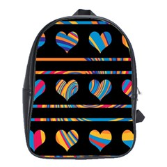 Colorful harts pattern School Bags (XL)