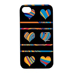 Colorful harts pattern Apple iPhone 4/4S Hardshell Case with Stand