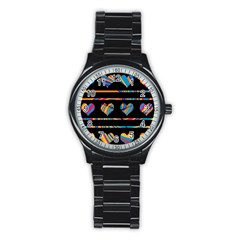 Colorful harts pattern Stainless Steel Round Watch