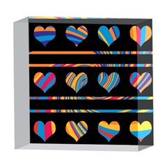 Colorful harts pattern 5  x 5  Acrylic Photo Blocks