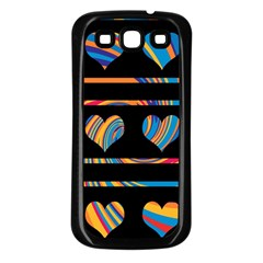 Colorful harts pattern Samsung Galaxy S3 Back Case (Black)