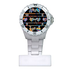 Colorful harts pattern Plastic Nurses Watch