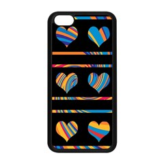 Colorful harts pattern Apple iPhone 5C Seamless Case (Black)