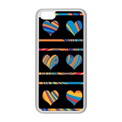 Colorful harts pattern Apple iPhone 5C Seamless Case (White)