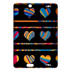 Colorful harts pattern Amazon Kindle Fire HD (2013) Hardshell Case