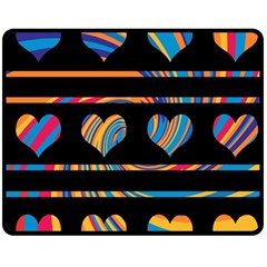 Colorful harts pattern Double Sided Fleece Blanket (Medium)
