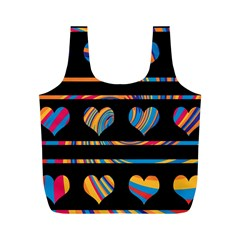 Colorful harts pattern Full Print Recycle Bags (M)