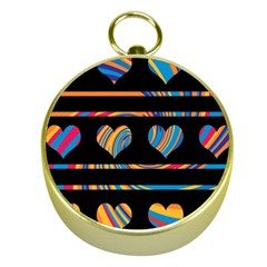 Colorful harts pattern Gold Compasses