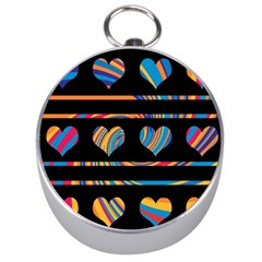 Colorful harts pattern Silver Compasses