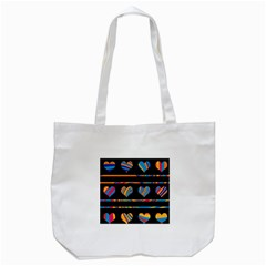 Colorful harts pattern Tote Bag (White)