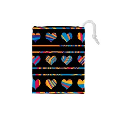 Colorful harts pattern Drawstring Pouches (Small)