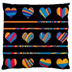 Colorful harts pattern Large Flano Cushion Case (Two Sides)