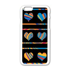 Colorful harts pattern Apple iPhone 6/6S White Enamel Case